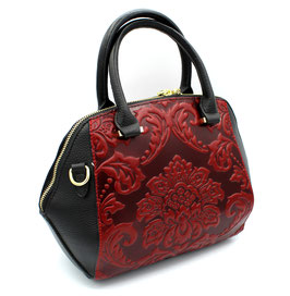 Leather Bag Handmade Tooled Bag Red