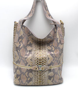 Leather Bag in Real Cow leather Python Pattern Daniela Moda Beige