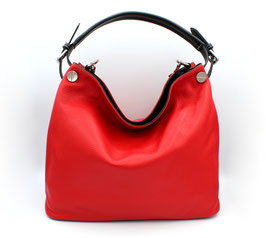 Leather shoulder bag Made in Italy Red