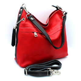 Leather Bag Roma Daniela Moda Red