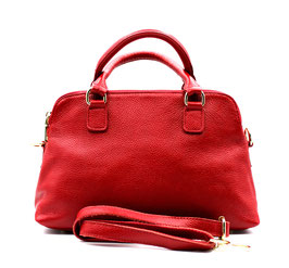 Leather handbag three zip compartments Red