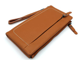 Leather Soft Wallet Travel Wallet Daniela Moda Brown