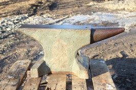 # 3438 - nice hand forged german single horn anvil - old paint - all original good condition