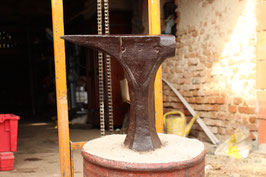 # 2179 - very antique ornate german stake anvil ( anvil alone had about 75 lbs est. )
