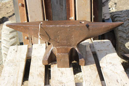 # 2794 - forged antique german double horn anvil with 159 lbs weighed , rust pitted