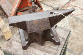 # 2690 - single horn bavarian anvil with 99 lbs weighed - very good in shape , hand forged , around 1850