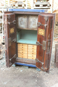 # 3602 - ANTIQUE FULLY working historical Safe Strongbox , complete with all keys in fully working condition , very ornate etched inside lock covers