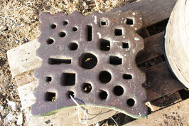 # 2721.1  vintage german swage block with 17,7x17,7x4 inches , about 330 lbs , nice hole pattern
