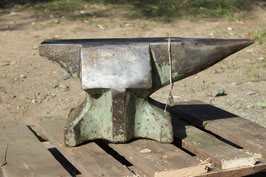 # 2985 - bavarian anvil , forged with about 240 lbs - remains of old paint . In nice shape no repairs , minimal wear