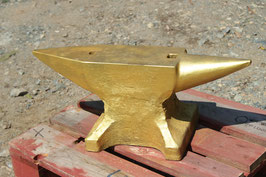 # 3313 - vintage forged PFP Peddinghaus anvil - painted gold , marked 82 kg = 180 lbs - simply top condition