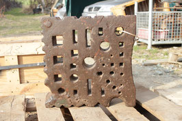 # 3142 - german swage block , all holes fress at 15 3/4 x 15 3/4 x 4 inches