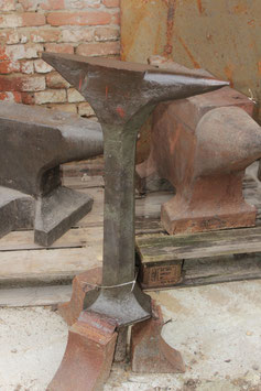 # 2583 - giant forged stake anvil , about 132 lbs , nice straight condition