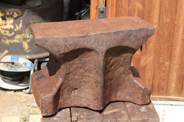 # 2523 , very rustical massive antique hand forged german church window anvil with aprox. 350 lbs , around 1800´s