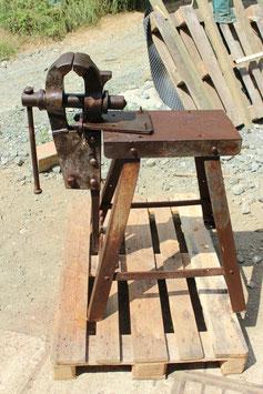 # 3583 - old german blacksmith vise mounted on iron table