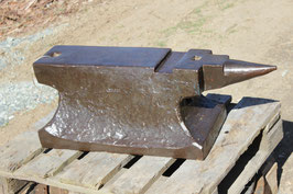 """# 2839 - Forged French HEAVYWEIGHT anvil with 535 lbs , marked """" RENGELS """" , rare shape with 2 hardy holes and bird next tool slot , very stabil wide bottom , straight face"""