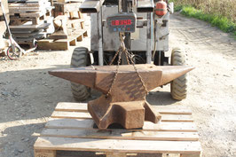 # 3170 - SUPERSIZE - vintage german hand forged anvil 814 lbs weighed ,   47 1/2 inches total length , 16 3/4 height , 8 inches face ! TOP CONDITION