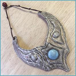 Lederkette Luna kupfer antik