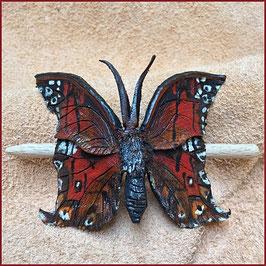 Haarspange Schmetterling mittelgroß rot / braun