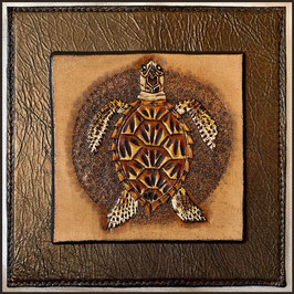 "Mini Lederbild ""Karettschildkröte"", 10 x10 cm"
