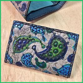 Geldbeutel klein Paisley blau / grün