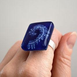 Anillo Pluma, azul cobalto
