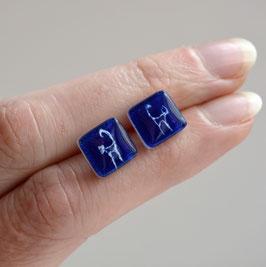 pendientes botón Gato azul