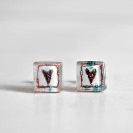 Pendientes botón Corazón, rojo
