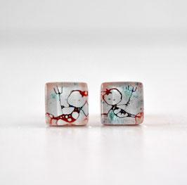 Pendientes botón Sirenita, color rojo