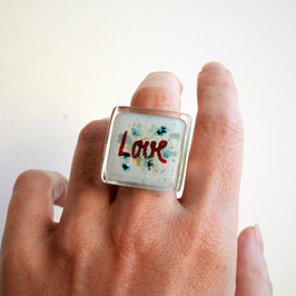 Anillo Love, plata de ley y vidrio