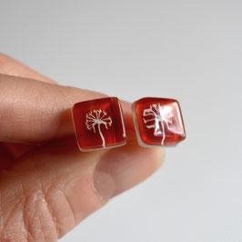 Pendientes botón Diente de león, color rojo