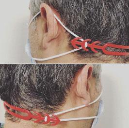5 rote Maskenhalterungen