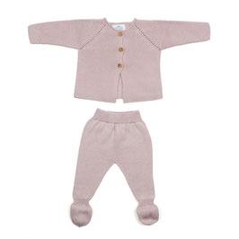 Gestrickter Zweiteiler Newborn in rosa.