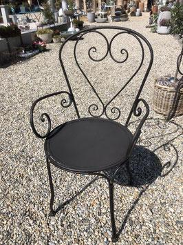 Metallstuhl schwarz, versschnörkelt