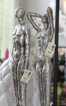 Skulptur Set Mann und Frau in silberantik