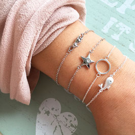 Silberarmkette Wal / Ring / Stern / Katze