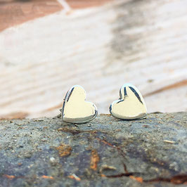 Herz-Ohrstecker Silber glanz