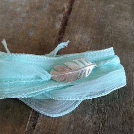 """Wickelarmband Seide mit 925-Silberelement """"Feder klein"""""""