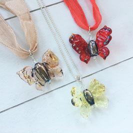Glasperlen-Schmetterlinge Lachs / Hellgelb / Rot