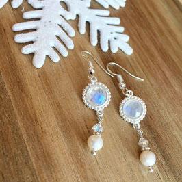 Ohrhänger Silber mit Mondstein und Süsswasserperlen