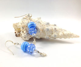 Glasperlen Ohrhänger Blau gestreift