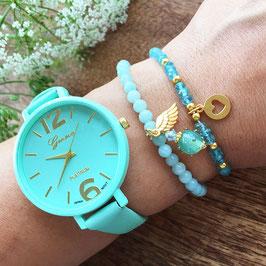 Apatit Armband mit Goldherz-Medaillon