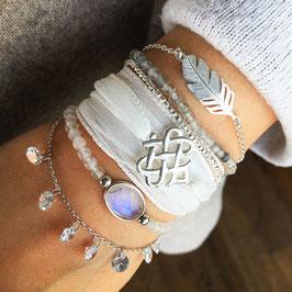 """Wickelarmband Seide mit 925-Silberelement """"keltischer Knoten"""""""