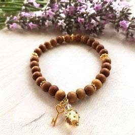 Rosenholz Armband mit Goldschlüssel und Mini-Glasperle