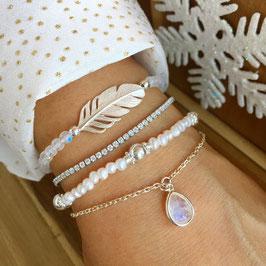 Armbänder: Feder-Mondstein / Zirkonia-Glitzer / Süsswasserperlen-Silber / Silber-Mondsteintropfen