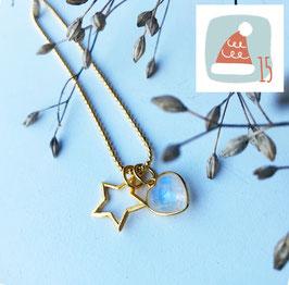 15.Dezember: Stern & und Herzli Halskette Silber-vergoldet