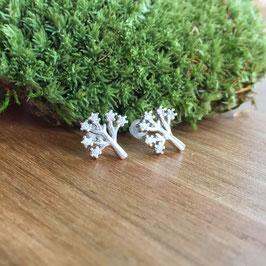 Baum-Ohrstecker Silber mit Zirkonias