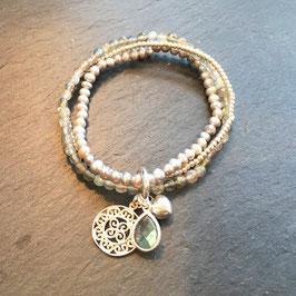 "Multibracelet - Labradorit - Süsswasserperlen Grau - Silber ""Ornament"""
