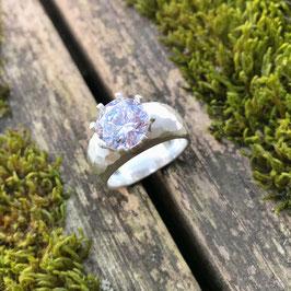 Fingerring Silber matt mit Zirkonia-Solitär