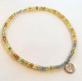 Bernstein Halskette Schutzengel 925-Silber