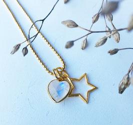 Stern & und Herzli Halskette Silber-vergoldet